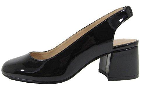 City Classified Women's Slingback Round Toe Block Heel Sandal Pump (8.5 B(M) US, Black - Sling Toe Round