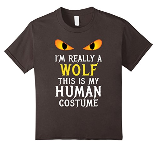 Kids I'm Really a Wolf Halloween Costume Shirt Easy Funny Gift 8 Asphalt (Diy Scary Halloween Masks)