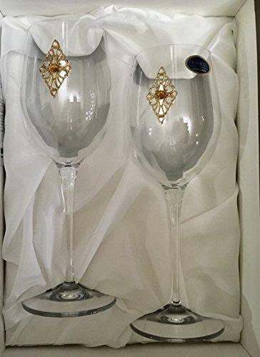 Italy Cristalleria Fratelli Fumo Fine Italian Glasses Jeweled Gold Amber Filigree Diamond Medallion Set of 2 Boxed