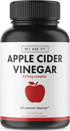 Apple Cider Vinegar Supplement - Supprots Weight Loss, Detox, and Digestion Efforts. Help Boost Metabolism - Powerful Cleanser & Detox to Support Overall Health - 625mg Complex, 60 Veggie Caps - Any Weight Loss