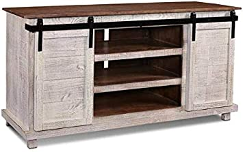 Amazon Com Rustic White Barn Door 66 Tv Stand Fully Assembled Furniture Decor