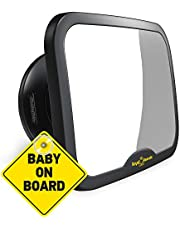 ROYAL RASCALS Baby Car Mirror for Back Seat - Updated Premium Model - Black Frame - Safest Shatterproof Baby Mirror for Car - Rear View Baby Car Seat Mirror to See Rear Facing Infants and Babies.