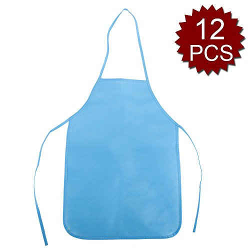 - Opromo 12 Pack Non-Woven Fabrics Unisex Colorful Kids Apron for DIY Painting Artist Available in Two Sizes(S/M)-Blue-M