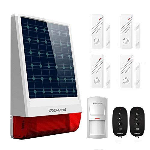 Wolf-Guard Wireless LB-W06 Outdoor Solar Burglar Siren DIY Home Security Alarm System,with PIR Motion Detector, Door Window Sensor and Remote Controller,120dB