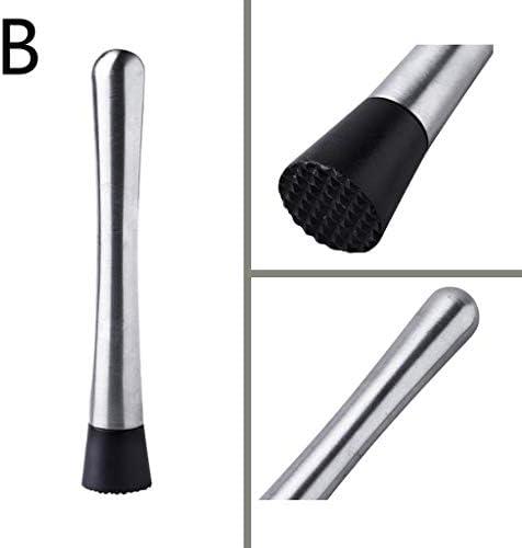 RESUXI Professioneller Cocktailstößel, Edelstahl, langlebig, leicht zu reinigen, Bar-Werkzeug, kratzfester Nylon-Kopf Größe B
