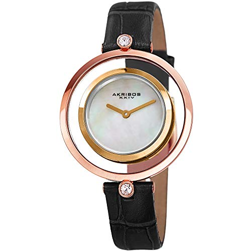 Akribos XXIV Women's Leather Watch - Swarovski Crystal Accent Lugs, Double Rose Gold and Yellow Gold Bezel, Mother of Pear Dial, Black Band - AK1060BK