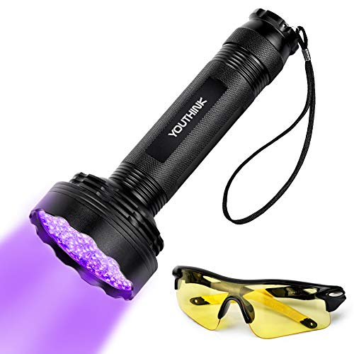 UV Flashlight, Upgraded 100 LED Handheld Black Light Pet Urine Detector 395nm Ultraviolet Blacklight Scorpion Light Torch Lamp with UV Sunglasses for Dog/Cat Urine Dry Stains Bed Bug Dangerous Leaks
