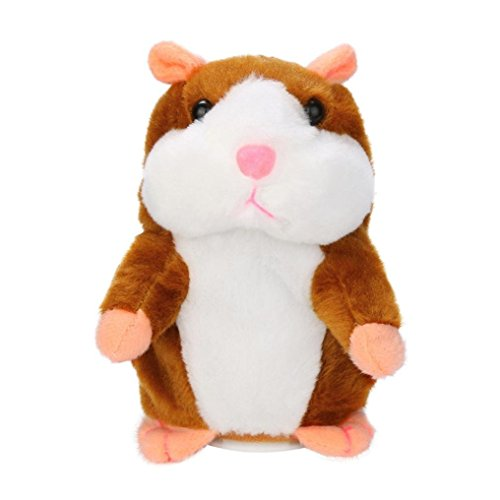 Talking Hamster-Repeats What You Say electronical Plush Animal Toy, Cute Speak Talking Sound Record Hamster Educational Toy for Kids Birthday Christmas Gift (Khaki) New Pet Hamster