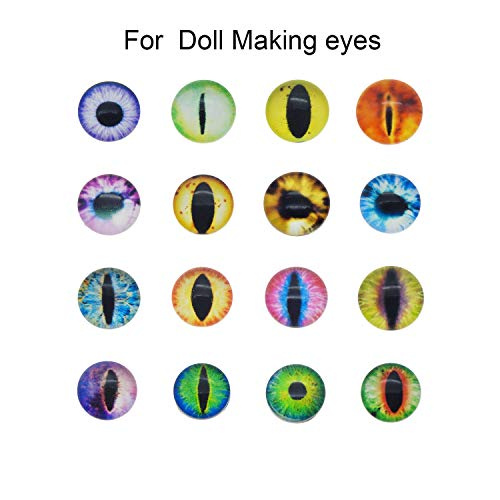 Halloween Contact Lenses Prescription-only (50PCS/Pack Diameter 1 inch Assorted Round Glass Animal Eye Flatback Cabochons for Polymer Clay Doll Craft Making 25mm Cat Eye Evil Eye)