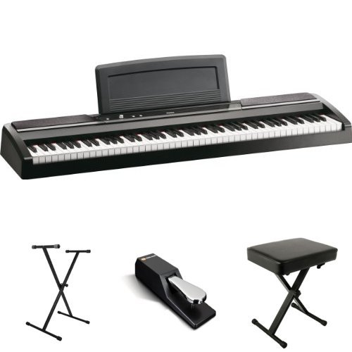 Korg SP170s Black 88-Key Digital Piano Value Bundle with Single-X Stand, Sustain Pedal, and Bench