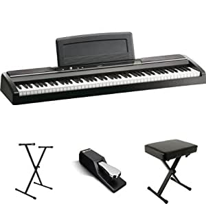 korg sp170s black 88 key digital piano value bundle with single x stand sustain. Black Bedroom Furniture Sets. Home Design Ideas