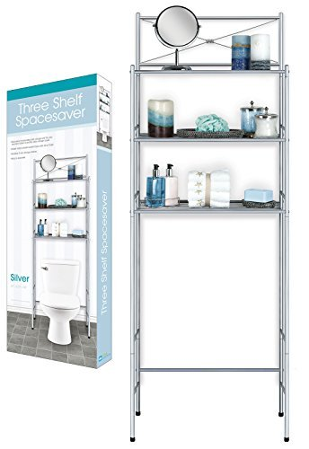 3 Shelf Over The Toilet Spacesaver Silver Easy to Assemble by DINY Home Collections
