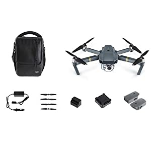 DJI Mavic Pro Fly More Combo: Foldable Propeller Quadcopter Drone Kit with Remote, 3 Batteries, 16GB MicroSD, Charging Hub, Car Charger, Power Bank Adapter, Shoulder Bag by DJI