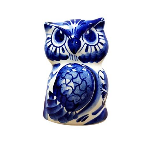 Russian Gzhel Handmade Porcelain Figurine Souvenir Owl Sofia Shipped Directly from Russia.