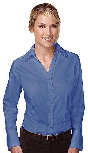 Mini Herringbone Non Iron (Tri-mountain Women 100% Cotton wrinkle free Piece Dyed Mini Herringbone woven Shirt. - FRENCH BLUE - XXXX-Large)