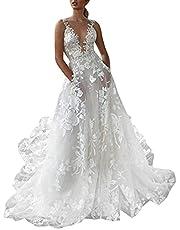 Womens Wedding Dress Plus Size Sexy Deep V Neck Lace Sleeveless Split Bodycon Evening Dresses Bridesmaid Dress