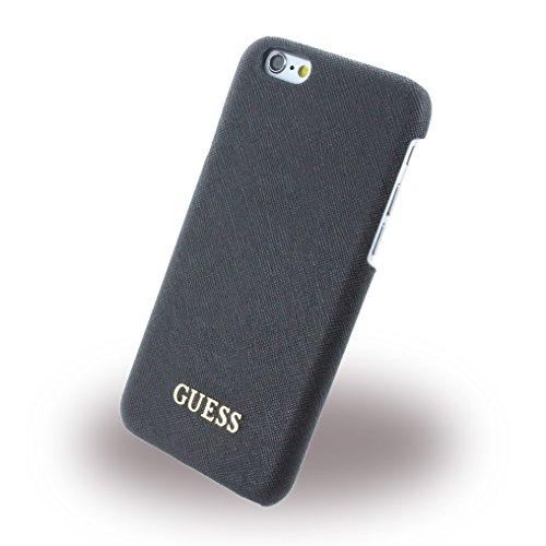 Guess GUHCP6TBK Tori Collection harte Schutzhülle mit rotem Mikrofaser Innen und Metall Logo für Apple iPhone 6/6S 11,9 cm (4,7 Zoll) schwarz