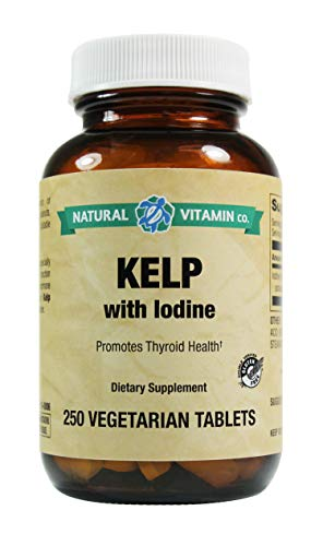 Natural Vitamin Co. - Kelp with Iodine, Iodine (from kelp, Potassium Iodide) 225mcg, 250 Tablets, 8+ Month Supply, Gluten Free, Vegetarian, Vegan