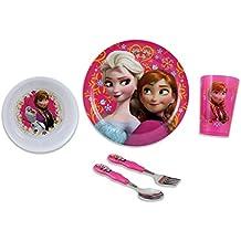 Zak Designs Disney's Frozen 5- Piece Mealtime Bundle Set, Anna- Elsa Includes: Plate, Tumbler, Bowl, Fork and Spoon