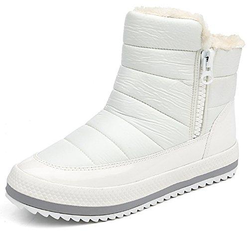 Women's Warm Fleece Lined Side Zipper Platform Flats Anti Skid Short Snow Boots Shoes