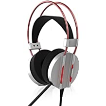 LED Light Noise Canceling Gaming Headphone, ICE FROG Wired 7.1 Channel Virtual USB Surround Stereo Sound PC Over Ear Headset with Mic for PS4 Slim Pro Xbox One X Laptop Macbook iPad Smartphone- Silver