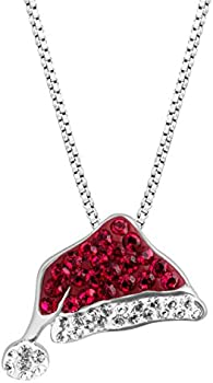 Crystaluxe Santa Hat Pendant Necklace with Swarovski Crystals