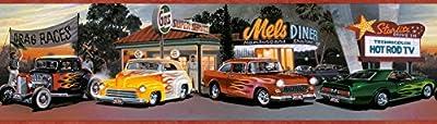 Chesapeake BYR50141B Lenny Hot Rods Portrait Wallpaper Border, Red