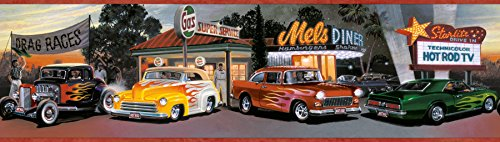 Chesapeake BYR50141B Lenny Hot Rods Portrait Wallpaper Border, Red