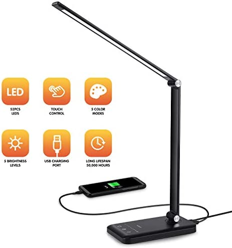 LED Desk Lamp – Dimmable Table Lamp with Eye-Caring of 5 Color Modes and 5 Brightness Levels, Office Desk Lamp with USB Charging Port, Timer Memory Function Lamp for Working, Reading, Sleeping