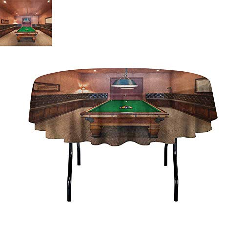 Douglas Hill Modern Waterproof Anti-Wrinkle no Pollution Entertainment Room in Mansion Pool Table Billiard Lifestyle Photo Print Table Cloth D51 Inch Cinnamon Brown Green