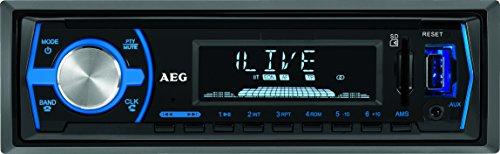 AEG AR 4030 BT/USB/CR Autoradio mit Bluetooth, USB und Card Reader AUX-IN, LCD-Display (blau beleuchtet), 4x 40 W, schwarz