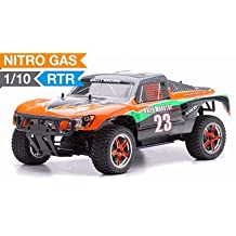 Exceed RC 1/10 2.4Ghz Short Course Monster Nitro Gas Powered RTR Off Road 4WD Truck Carbon Orange RC Remote Control Radio Car