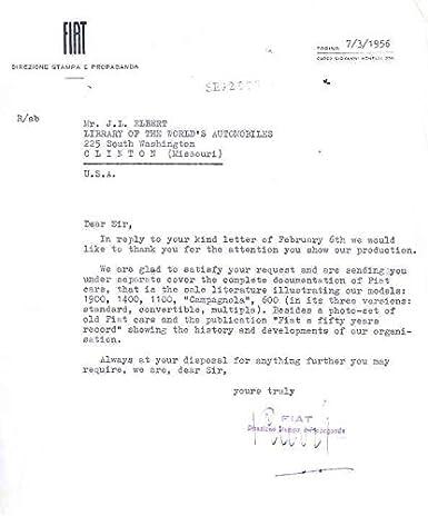 Amazon com: 1956 Fiat Factory Letter 600 Campagnola 1100