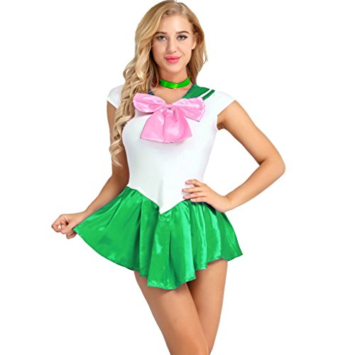 YiZYiF Women's Sailor Moon Costume Mercury Mars Fancy Dress Cosplay Outfits Set Green Large