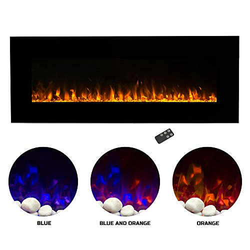 "Northwest Electric Fireplace Wall Mounted Color Changing LED Fire and Ice Flames, NO HEAT, Multiple Decorative Options and Remote Control 54"" Black"