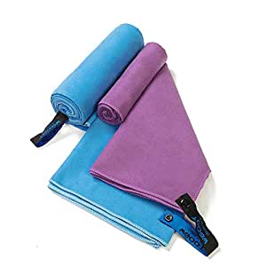"""WGOOT Quick Dry Microfiber Towel,Super Absorbent,Lightweight &Ultra Compact,Suitable for Swimming,Yoga,Camping,Beach,Gym,Sport,Blue(59""""x29"""")+Purple(40""""x20""""), 2pack"""