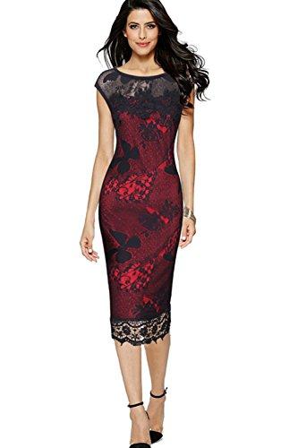 MisShow Women's Midi Lace Party Dresses Knee Length Short Evening Gown