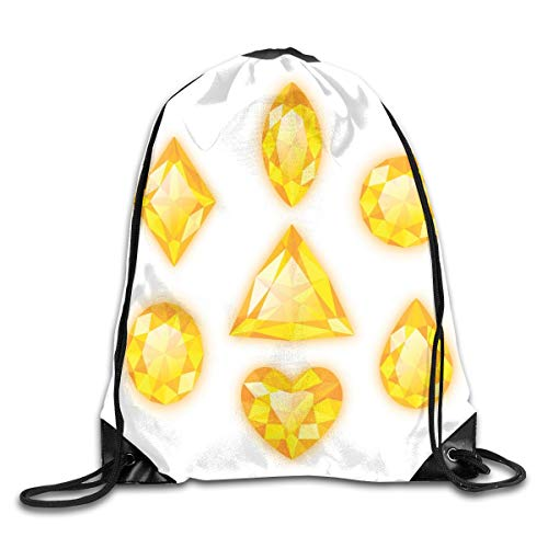 Unisex Drawstring Bag Gym Bags Storage Backpack,Yellow Colored Different Geometrical Shapes Marquise Hearts And Pear