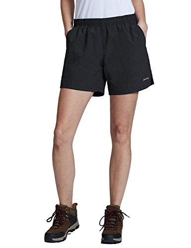 Baleaf Women's Lightweight Hiking Shorts with Zipper Pockets UPF 50+ Quick Dry River Short Black Size M
