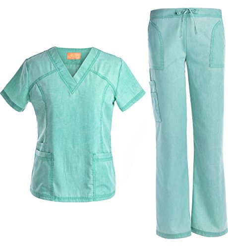 Jeanish 2017 new stylish washed superior softness medical uniforms TOP and PANTS scrubs sets-JS1605