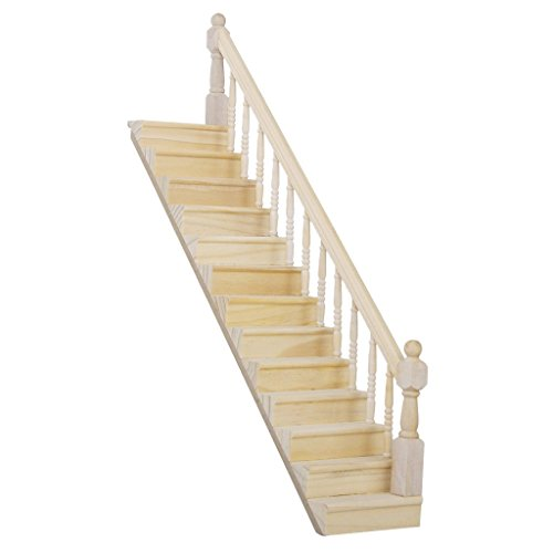 (Lowpricenice Pre-Assembled Wooden Staircase Stair Stringer Step with Right Handrail Dollhouse Furniture )