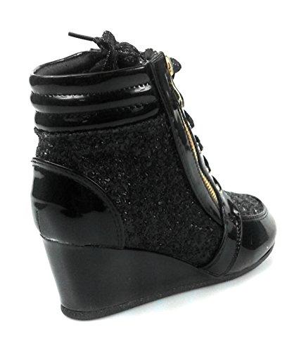 Link Lace up Rock Glitter Fashion Sneaker Hidden Heel For Children/Girl/Kids peggy44k Black 9EoQgI255Z