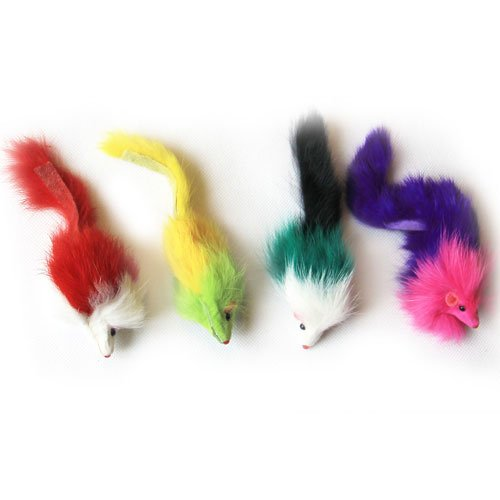 Iconic Pet 6 Pack colord Long Hair Fur Mice-Assorted-24 Pieces