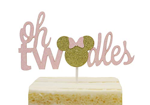 Minnie Mouse Inspired Twodles Cake Topper Pink & Gold Glitter Two Year Cake Topper