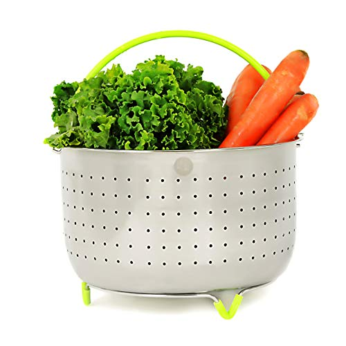 SagaHome Steamer Basket | Stainless Steel Instant Pot Accessory, 6-8 Qt, with Silicone Handle