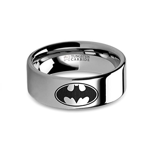 Batman Symbol Laser Engraved Tungsten Wedding Ring, Flat - 8 mm ()