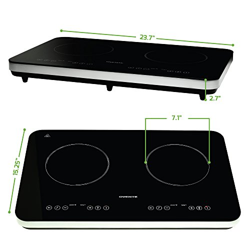 Ovente Induction Countertop Burner, Cool-Touch Ceramic Glass Cooktop with Temperature Control, Timer, 1800-Watts, Digital LED Touchscreen Display, Indoor/Outdoor Portable Double Hot Plate (BG62B)