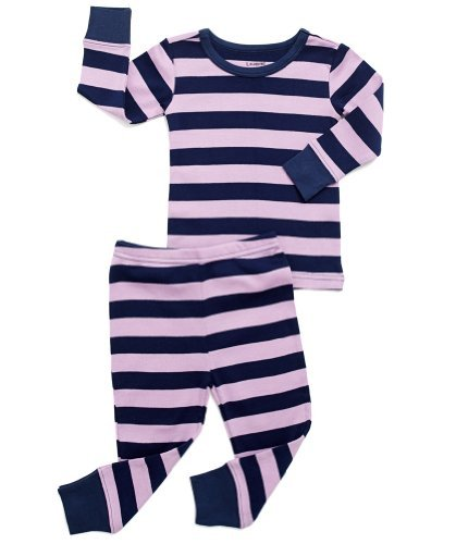 (Leveret Striped 2 Piece Pajama Set 100% Cotton (5 Toddler, Purple & Navy))