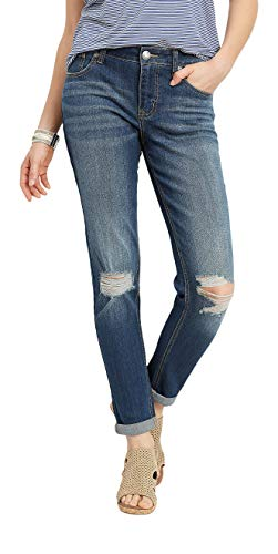 maurices Denimflex Women's Boyfriend Jean - Dark Wash Destructed Knee ()