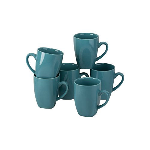 10 Strawberry Street Wazee Square - 10 Oz Mug - Set of 6 - Aqua - Aqua Mug